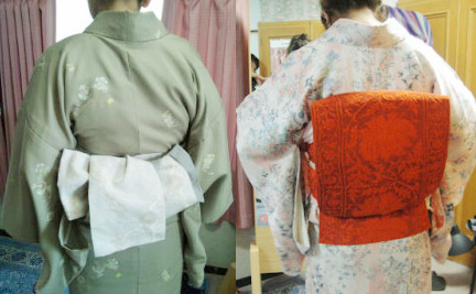 (左)半幅帯の変わり結び、(右)袋帯の二重太鼓